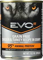 Evo 95-Percent Chicken & Turkey Dog Food 13.2 Oz Can