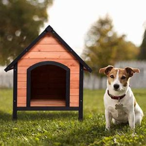 Tangkula Pet Dog House Outdoor Weather Waterproof Pet House Wood Pet Kennel Natural Wooden Dog House Home with Reddish Brown Roof
