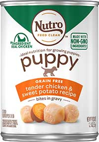 Nutro Puppy Grain-Free Tender Chicken & Sweet Potato in Gravy Recipe Canned Dog Food, 12.5-oz, case of 12
