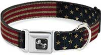 Buckle-Down Vintage US Flag Seatbelt Buckle Dog Collar