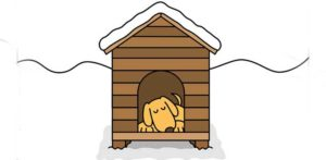 dog lying comfortably in a heated dog house
