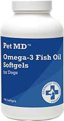 Pet MD Omega-3 Fish Oil Softgel Dog Supplement, 180 count